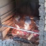 Dorady pieką się na grillu