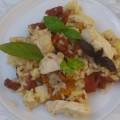 risotto z kurkami, suszonymi pomidorami i piersia kurczaka
