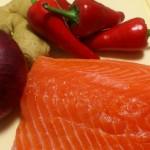 Główne składniki do przygotowania marynowanego łososia