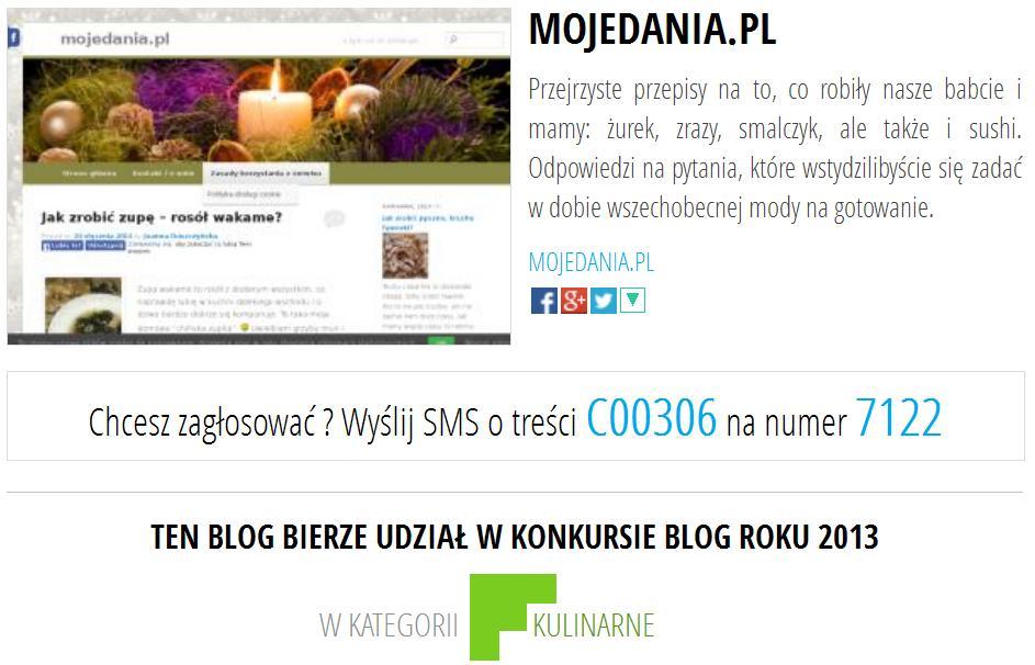 Jak zagłosować na MojeDania.pl w konkursie BlogRoku 2013?